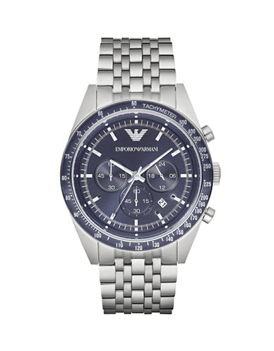 Emporio Armani Chronograph Chain-Link Strap Watch-SILVER-One Size