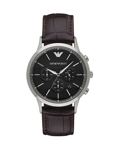 Emporio Armani Chronograph Stainless Steel Watch-BROWN-One Size
