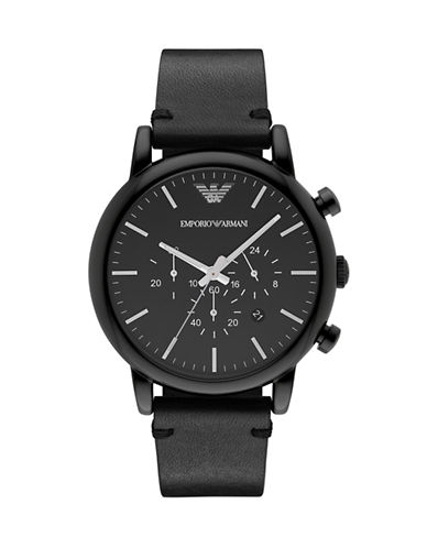 Emporio Armani Chronograph Stainless Steel Watch-BLACK-One Size
