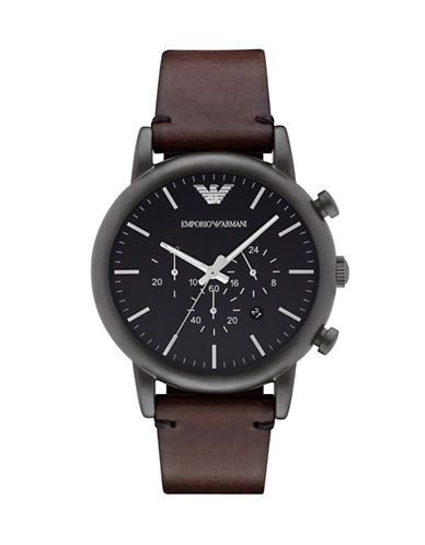 Emporio Armani Gunmetal Chronograph Stainless Steel Watch-BROWN-One Size