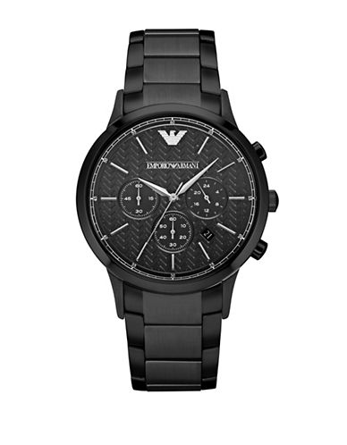 Emporio Armani Chronograph Renato Stainless Steel Watch-BLACK-One Size
