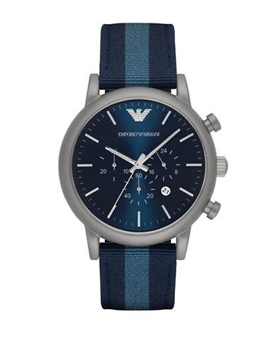 Emporio Armani Chronograph Luigi Nylon Strap Watch-BLUE-One Size