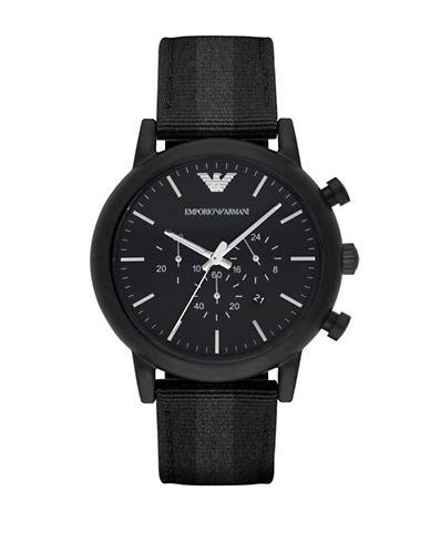 Emporio Armani Chronograph Luigi Nylon Strap Watch-BLACK-One Size