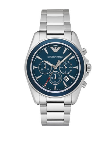 Emporio Armani Chronograph Sigma Stainless Steel Watch-SILVER-One Size