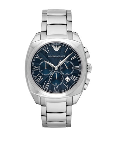 Emporio Armani Chronograph Gamma Stainless Steel Watch-SILVER-One Size