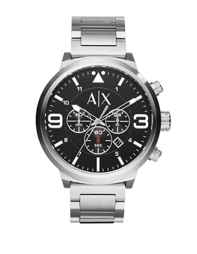 Armani Exchange ATLC Round Stainless Steel Bracelet Watch-SILVER-One Size