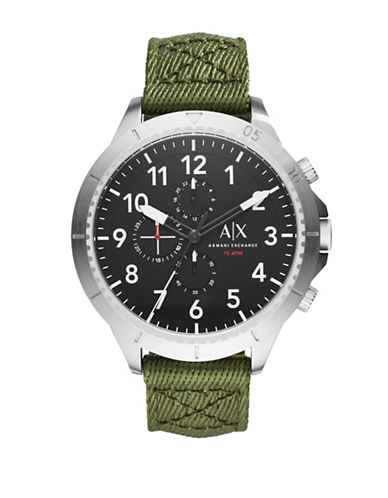 Armani Exchange Aeroracer Stainless Steel and Nylon Strap Watch-GREEN-One Size