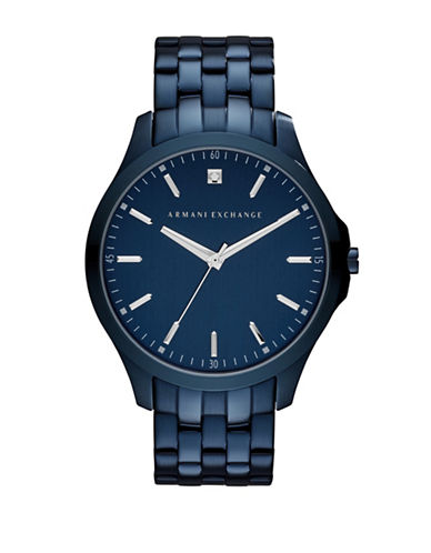 Armani Exchange 01CT Diamond Analog Hampton Stainless Steel Strap Watch-BLUE-One Size