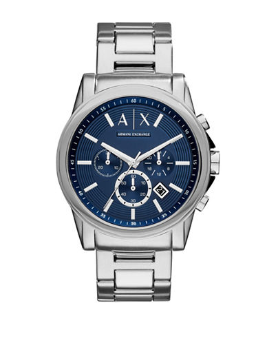 Armani Exchange Chronograph Outerbanks Stainless Steel Watch-SILVER-One Size
