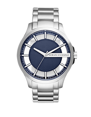 Armani Exchange Analog Hampton Stainless Steel Watch-SILVER-One Size
