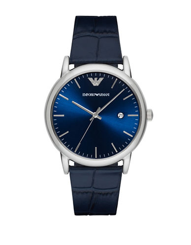 Emporio Armani Analog Dress Luigi Embossed Leather Strap Watch-BLUE-One Size