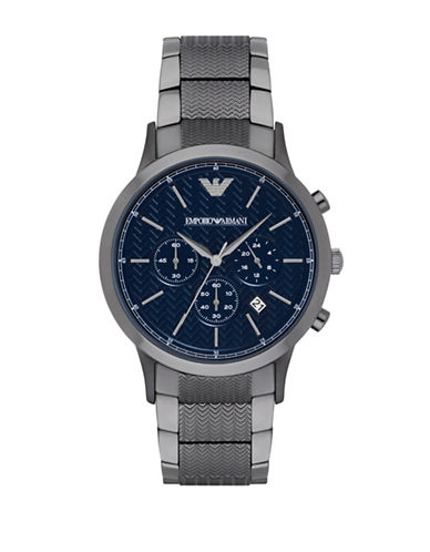 Emporio Armani Chronograph Dress Renato Gunmetal-tone Bracelet Watch-GREY-One Size