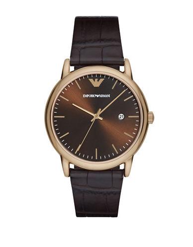 Emporio Armani Analog Dress Luigi Goldtone Embossed Leather Strap Watch-BROWN-One Size