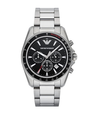 Emporio Armani Chronograph Sport Sigma Stainless Steel Bracelet Watch-SILVER-One Size