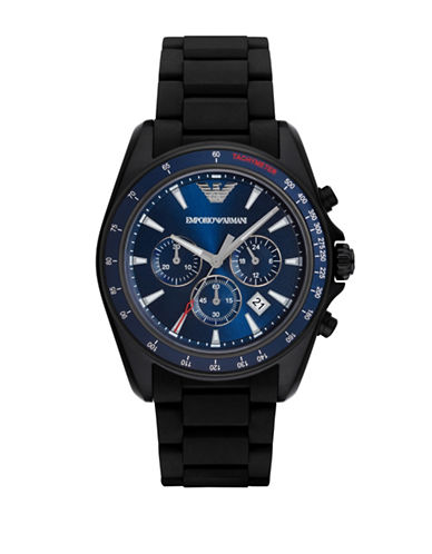 Emporio Armani Chronograph Sport Sigma Black Stainless Steel Silicone Strap Watch-BLACK-One Size