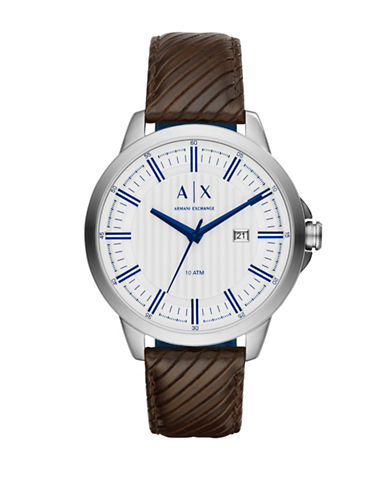 Armani Exchange Analog Smart Copeland Embossed Leather Strap Watch-BROWN-One Size