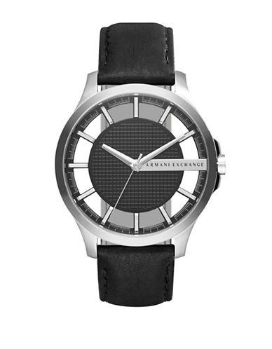 Armani Exchange Smart Hampton Black Leather Analog Watch-BLACK-One Size