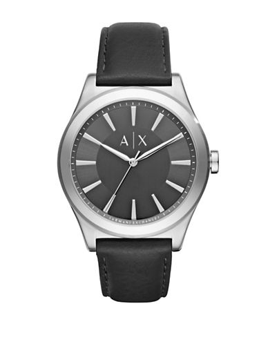 Armani Exchange Analog Smart Nico Stainless Steel Leather Strap Watch-BLACK-One Size
