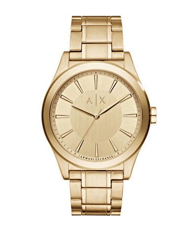 Armani Exchange Analog Smart Nico Goldtone Bracelet Watch-GOLD-One Size