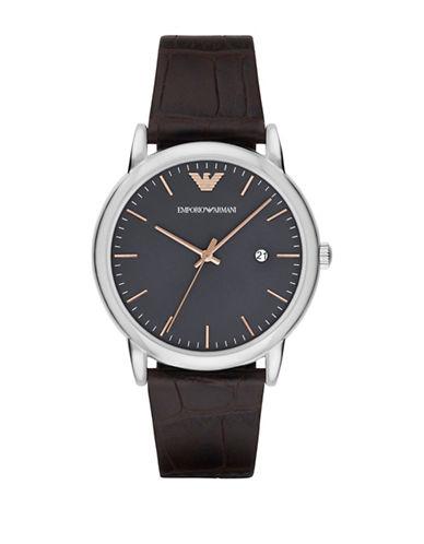 Emporio Armani Analog Luigi Two-Tone Leather Strap Watch-BROWN-One Size