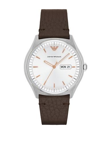 Emporio Armani Analog Zeta Stainless Steel Leather Strap Watch-BROWN-One Size