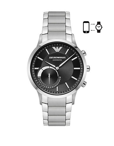 Emporio Armani Renato Stainless Steel Hybird Watch-SILVER-One Size
