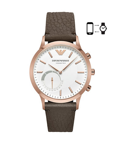 Emporio Armani Renato Ip Rose Gold Hybrid Watch-BROWN-One Size