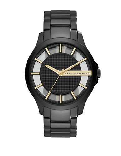 Armani Exchange Analog Hampton Black Bracelet Watch-BLACK-One Size