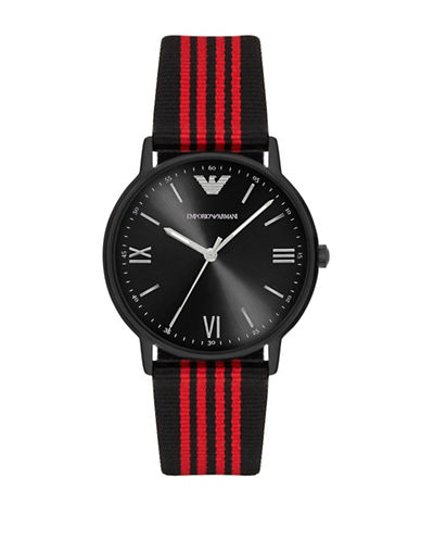 Emporio Armani Analog Kappa Leather and Nylon Strap Watch-RED-One Size