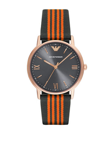 Emporio Armani Analog Kappa Leather and Nylon Strap Watch-ORANGE-One Size