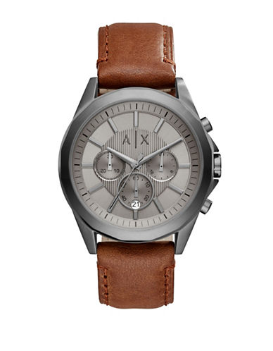 Armani Exchange Chronograph Drexler Smart Collection Leather Watch-BROWN-One Size