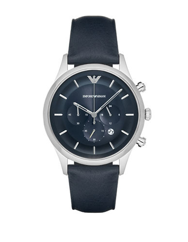 Emporio Armani Chronograph Lambda Leather Strap Watch-BLUE-One Size