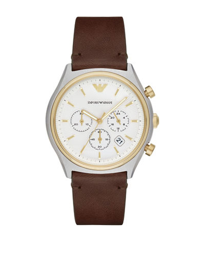 Emporio Armani Chronograph Zeta Leather Strap Watch-BROWN-One Size