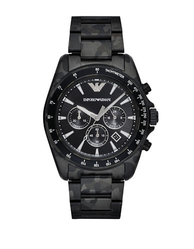 Emporio Armani Sport Sigma Camo Stainless Steel Bracelet Watch-BLACK-One Size