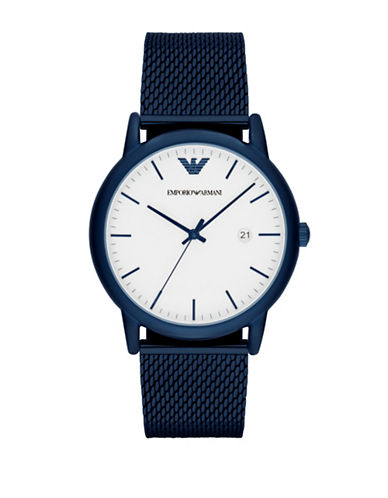 Emporio Armani Analog Luigi Stainless Steel Mesh Bracelet Watch-BLUE-One Size
