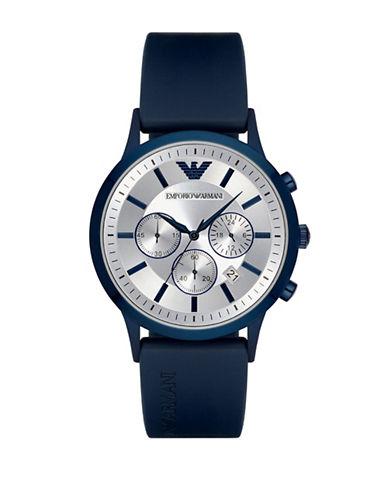 Emporio Armani Chronograph Renato Rubber Strap Watch-BLUE-One Size