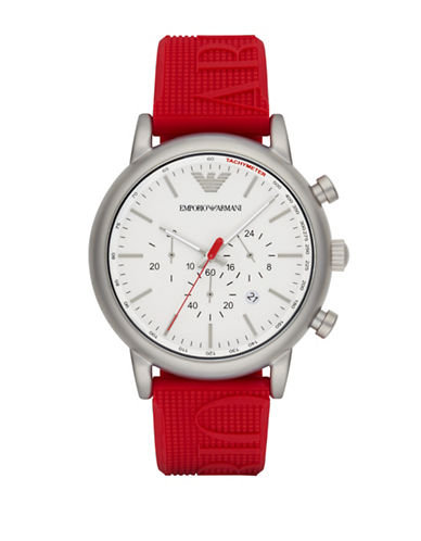 Emporio Armani Chronograph Luigi Silicone Strap Watch-RED-One Size