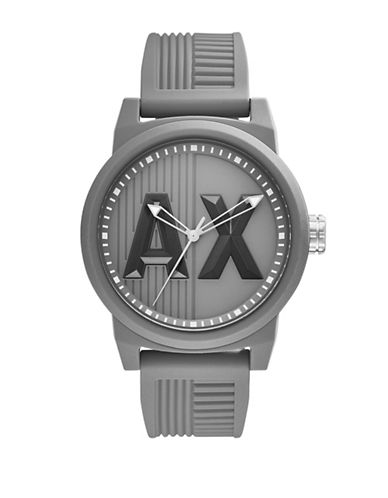 Armani Exchange Analog ATLC Silicone Strap Watch-GREY-One Size