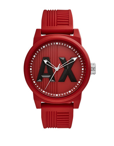 Armani Exchange Analog ATLC Silicone Strap Watch-RED-One Size