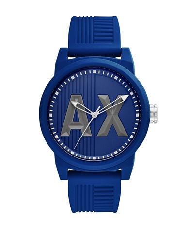 Armani Exchange Analog ATLC Silicone Strap Watch-BLUE-One Size