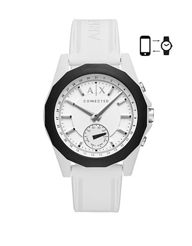 Armani Exchange Chronograph Drexler Silicone Strap Watch-WHITE-One Size