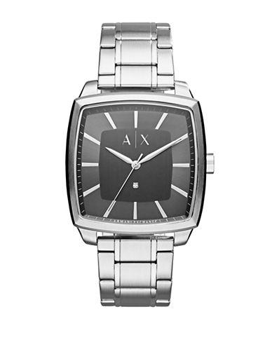 Armani Exchange Analog Nico 0.01 TCW Diamond Stainless Steel Bracelet Watch-SILVER-One Size