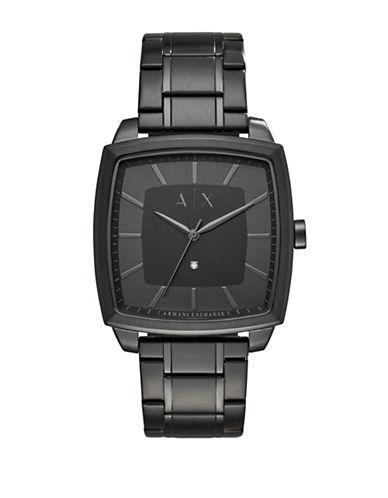 Armani Exchange Analog Nico 0.01 TCW Diamond Black IP Bracelet Watch-BLACK-One Size
