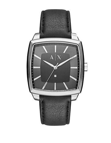 Armani Exchange Analog Nico Smart Collection Leather Watch-BLACK-One Size
