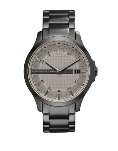 Armani Exchange Analog Hampton Grey IP Bracelet Watch-GREY-One Size