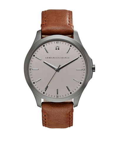 Armani Exchange Analog Hampton Smart Collection Leather Watch-BROWN-One Size