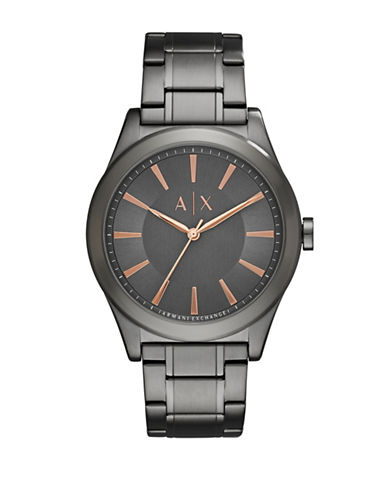 Armani Exchange Analog Nico Two-Tone Bracelet Watch-GREY-One Size