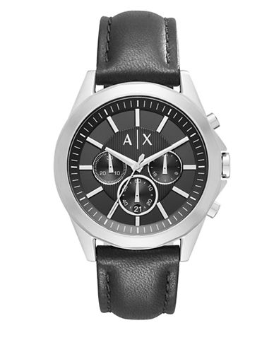 Armani Exchange Chronograph Drexler Stainless Steel Leather Strap Watch-BLACK-One Size
