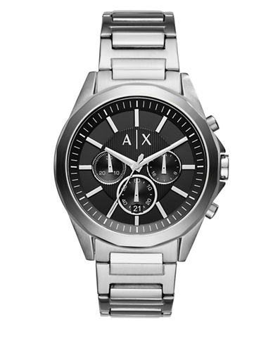 Armani Exchange Chronograph Drexler Stainless Steel Leather Strap Watch-SILVER-One Size