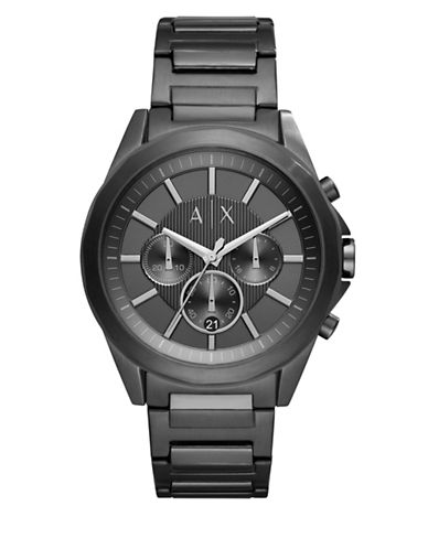 Armani Exchange Chronograph Drexler Gunmetal IP Leather Strap Watch-BLACK-One Size